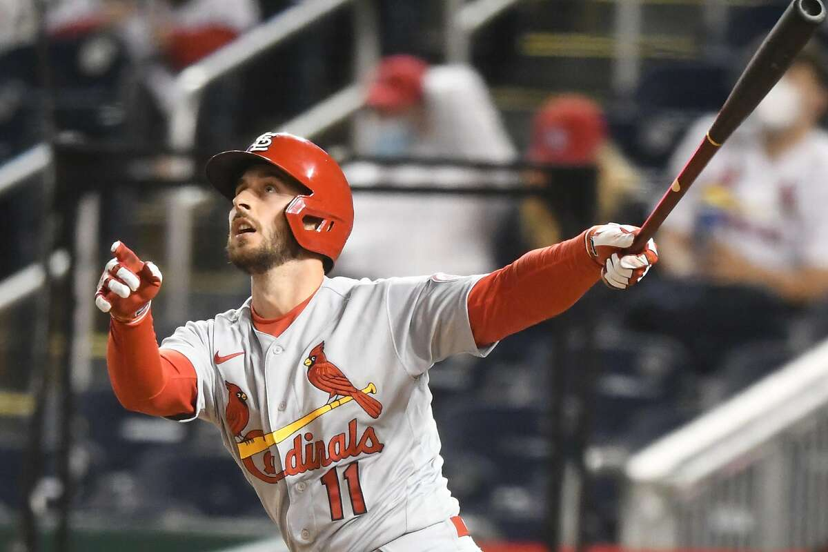 The Cardinals' Paul DeJong hits his second home run of the game, a grand slam in the fifth inning.