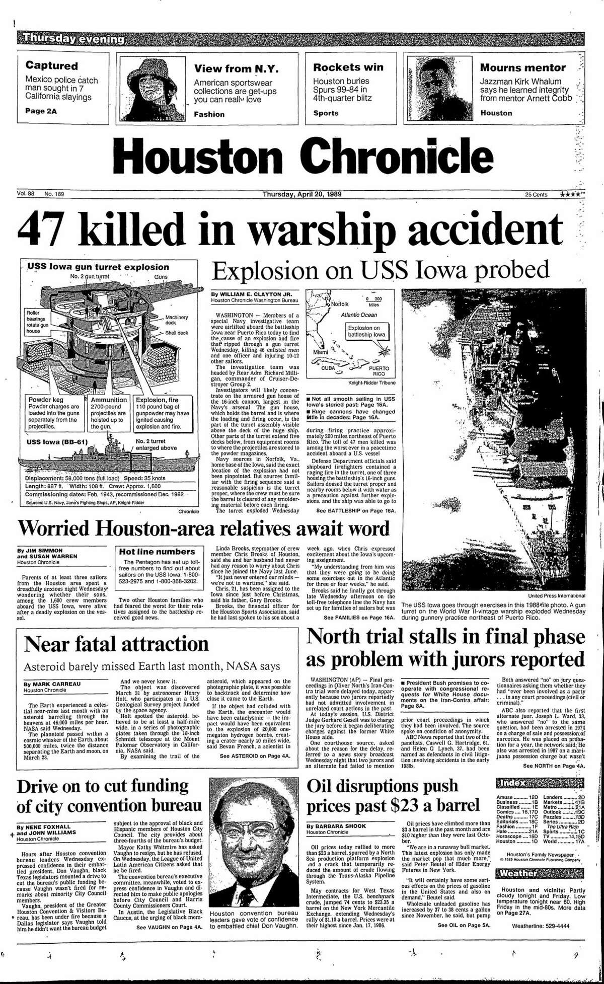 Houston Chronicle front page from April 20, 1989.
