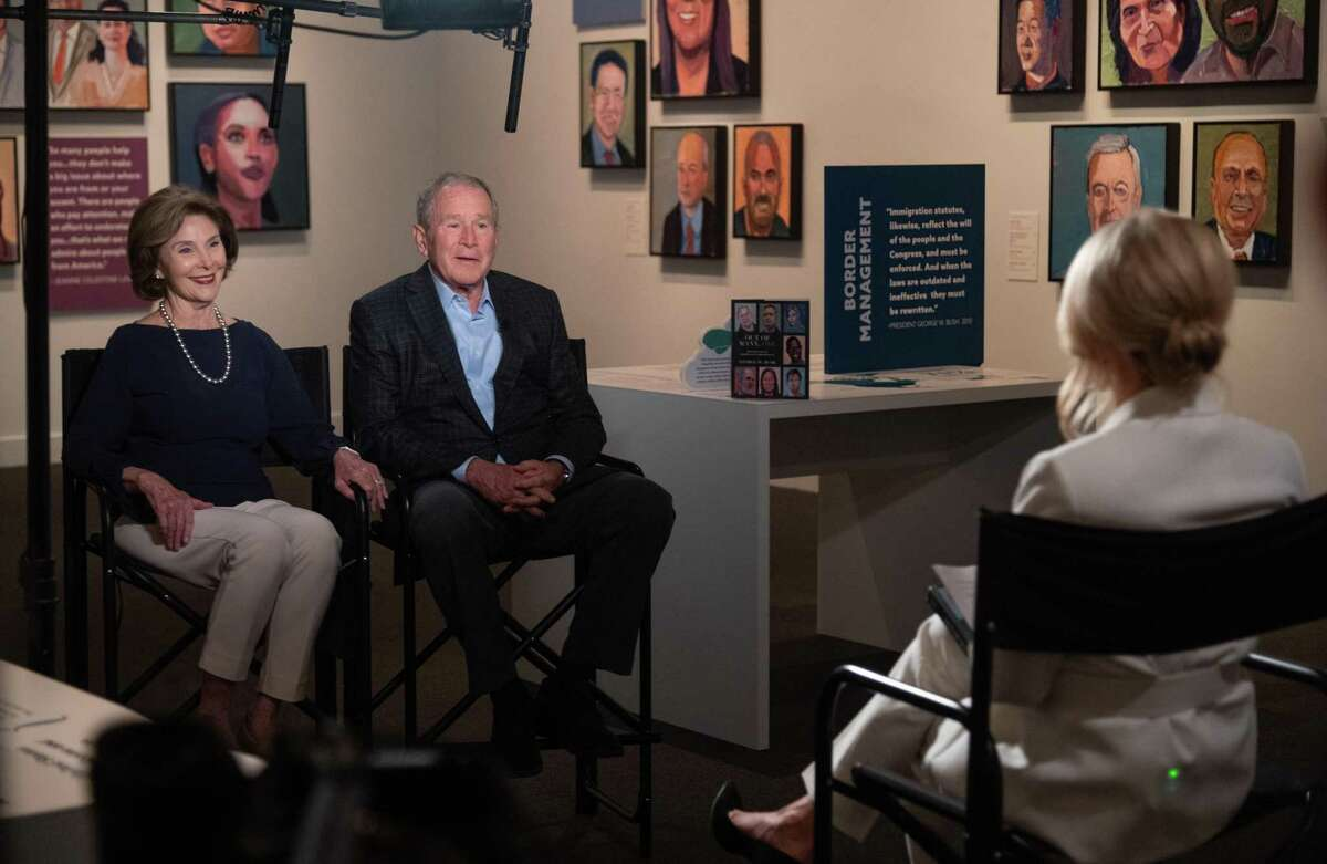 """President George W. Bush sits for an interview with Fox News anchor Dana Perino to discuss his new book """"Out of Many, One: Portraits of America's Immigrants"""" is available April 20, the same day his art exhibition of the same name opens at the George W. Bush Presidential Center in Dallas."""