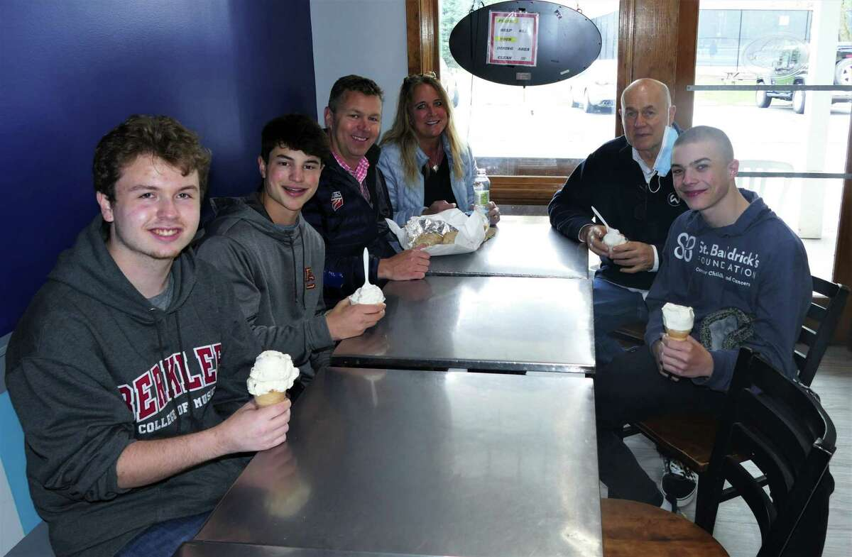Pompa was joined by donor David Cote and his students, including Ackerman, Casey and senior Jake Arnowitz at the Wilton Deli after the presentation.