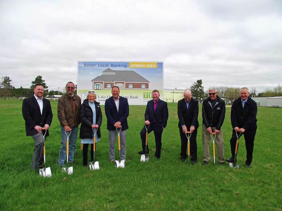 Pictured at the groundbreaking ceremony, from the left, are: Seth Wenger, board member; Larry Bender, board member; Deb Smith-Olson, board chairman; Robert Fisher, President & CEO; Scott Olson, Senior VP & CFO; Terry Wanstead, board member; Terry Gerber, board member; and John Fountain, Thompson Phelan Group. (Courtesy photo)