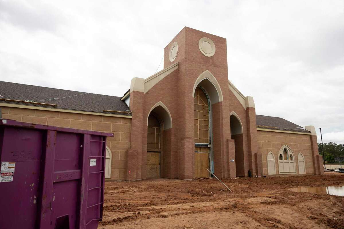 The building under construction is seen during a crawfish boil fundraiser at St. Matthias Catholic Church, Saturday, April 17, 2021, in Magnolia. Volunteers prepared over 825 lbs of crawfish and 220 lbs of shrimp. Funds raised will be used for the cost of their new church.