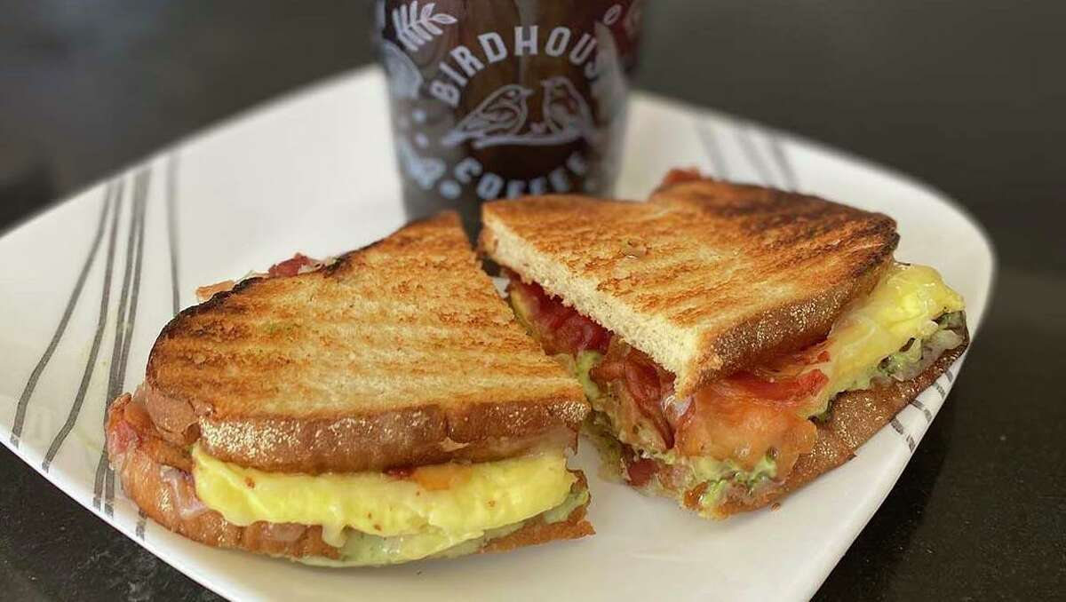 Birdhouse Coffee's brunch items include a bacon, egg and cheese breakfast sandwich on sourdough, with an excellent housemade pesto aioli.