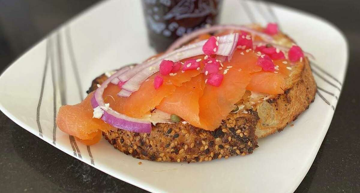 Birdhouse Coffee's brunch items include a lox toast, on everything-seeded sourdough with smoked salmon, cream cheese, capers and red onion.