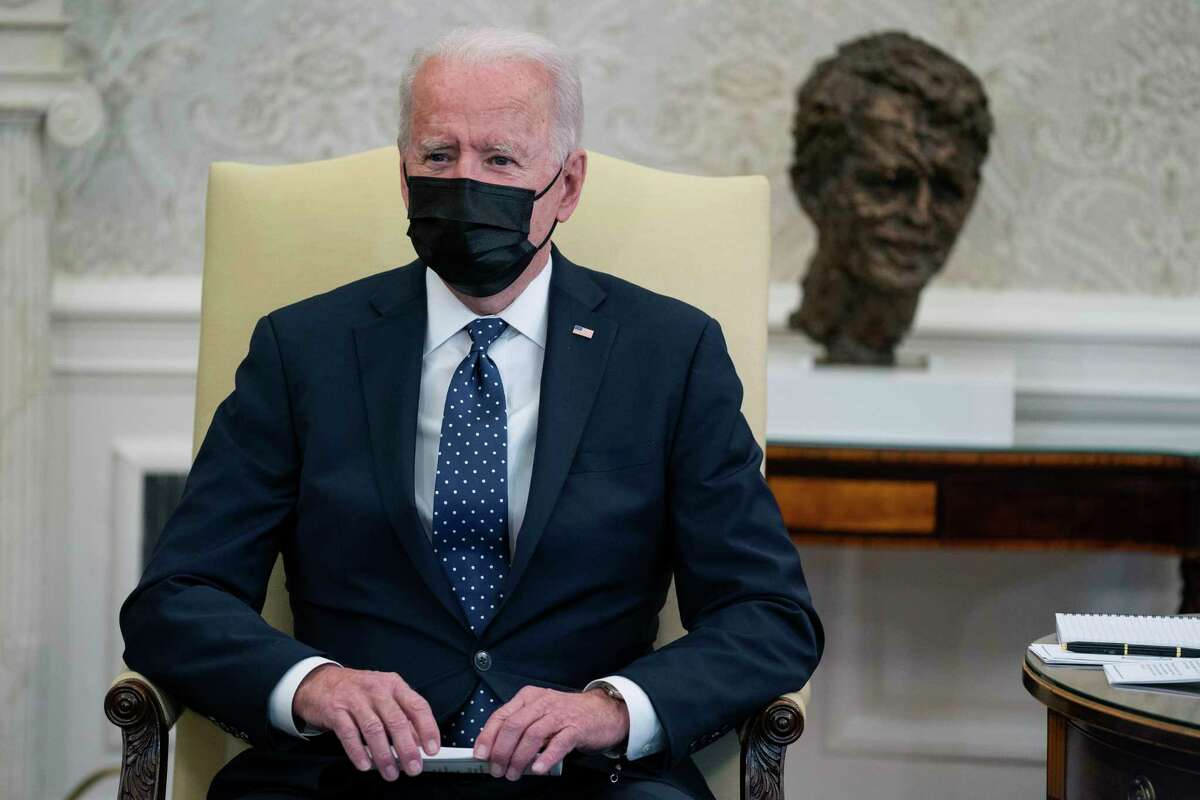 President Joe Biden speaks during a meeting with members of the Congressional Hispanic Caucus, in the Oval Office of the White House, Tuesday, April 20, 2021, in Washington. Biden said Tuesday that he is