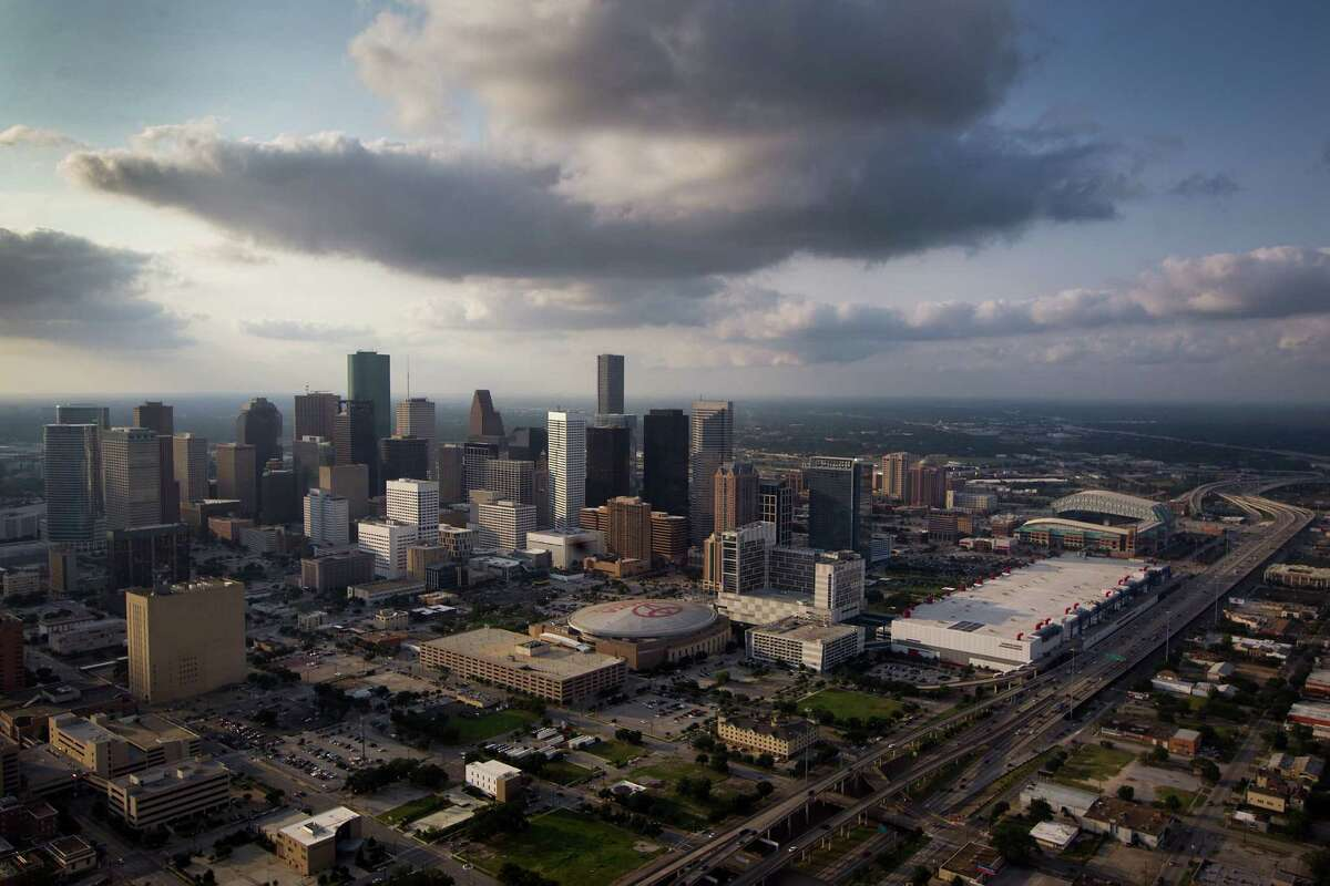 The downtown Houston skyline is seen in an aerial view with the Toyota Center, George R. Brown Convention Center and Minute Maid Park seen at right.