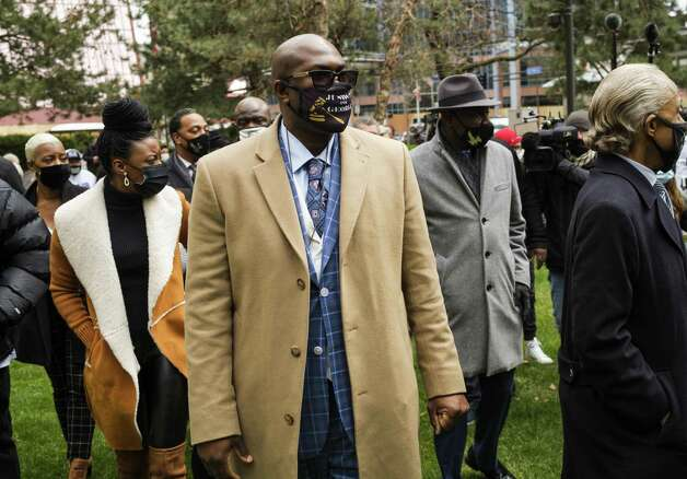 Philonise Floyd, brother of George Floyd, arrives at a press conference outside the Hennepin County Government Center on April 19, 2021 in Minneapolis, Minn. Photo: Stephen Maturen, Stringer / Getty Images / 2021 Getty Images