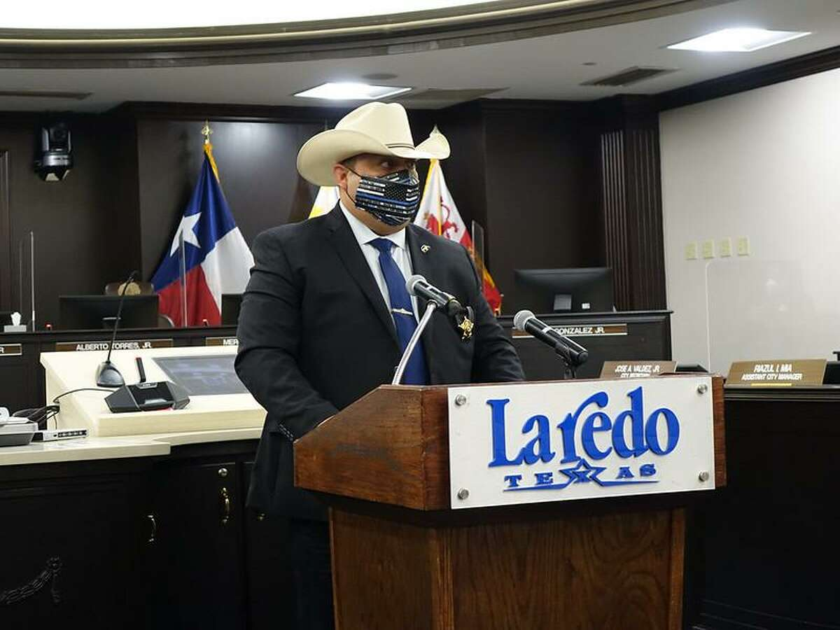 Zapata County Sheriff Raymundo Del Bosque Jr. delivered remarks during the the proclamation of National Telecommunicators Week in Laredo.