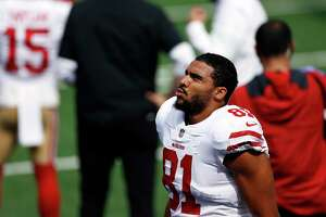 San Francisco 49ers tight end Jordan Reed (81) before an NFL football game against the New York Giants, Sunday, Sept. 27, 2020, in East Rutherford, N.J. (AP Photo/Adam Hunger)