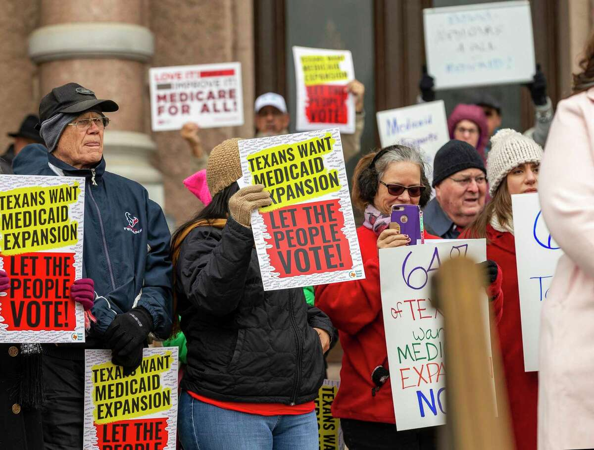 For years, Texans have called for the Medicaid expansion, as seen in this 2019 rally. Could the Biden administration finally force the state's hand?