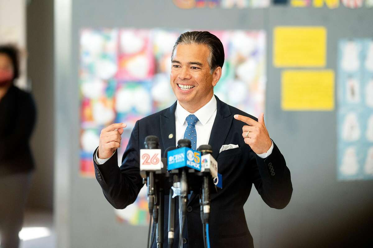 Rob Bonta speaks during a news conference at Ruby Bridges Elementary School in Alameda on March 16, 2021. The state Legislature confirmed Bonta as state attorney general on Thursday.