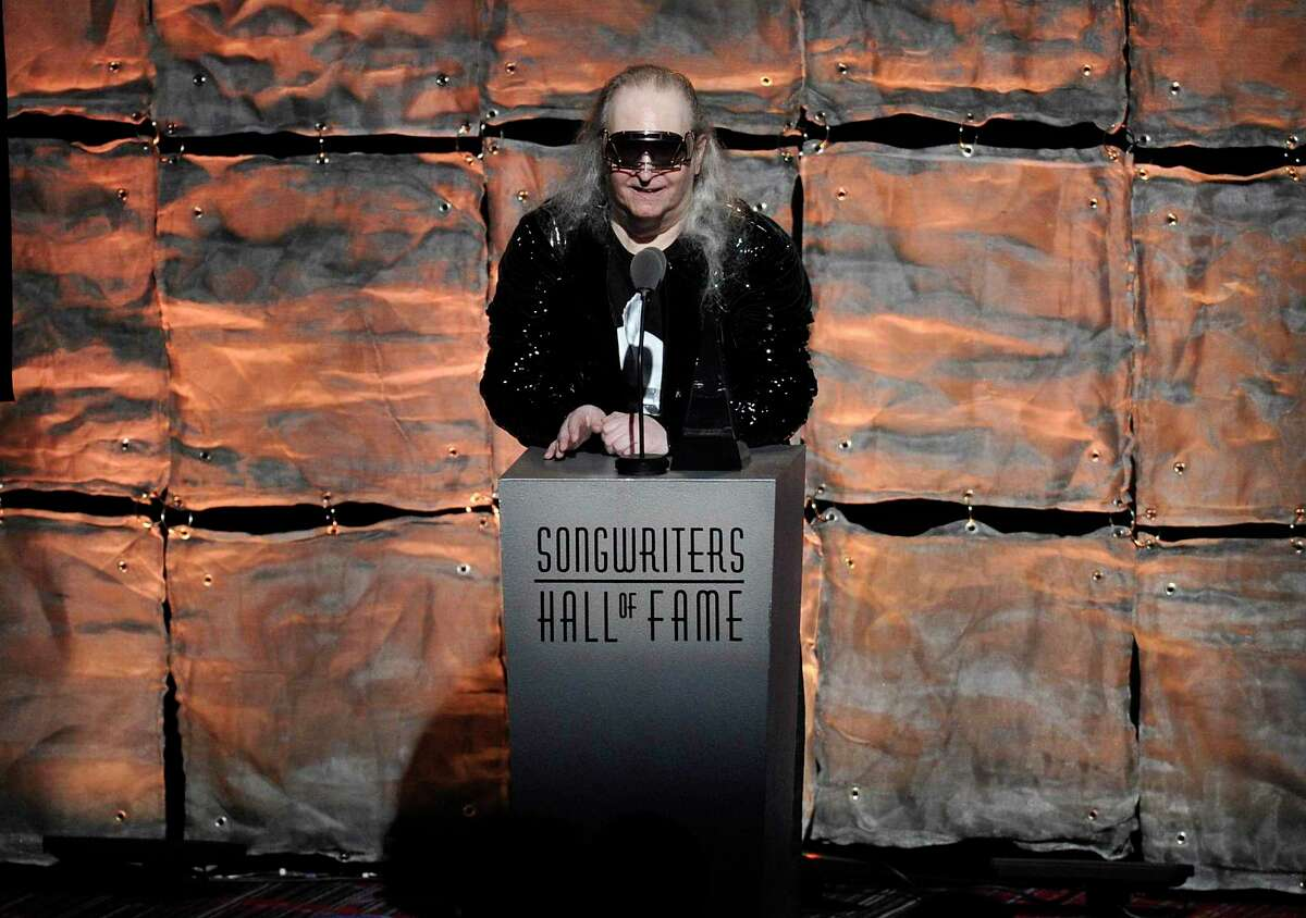 FILE - Inductee Jim Steinman speaks at the 2012 Songwriters Hall of Fame induction and awards gala in New York on June 14, 2012. Steinman, the Grammy-winning composer and playwright who wrote Meat Loaf's best-selling
