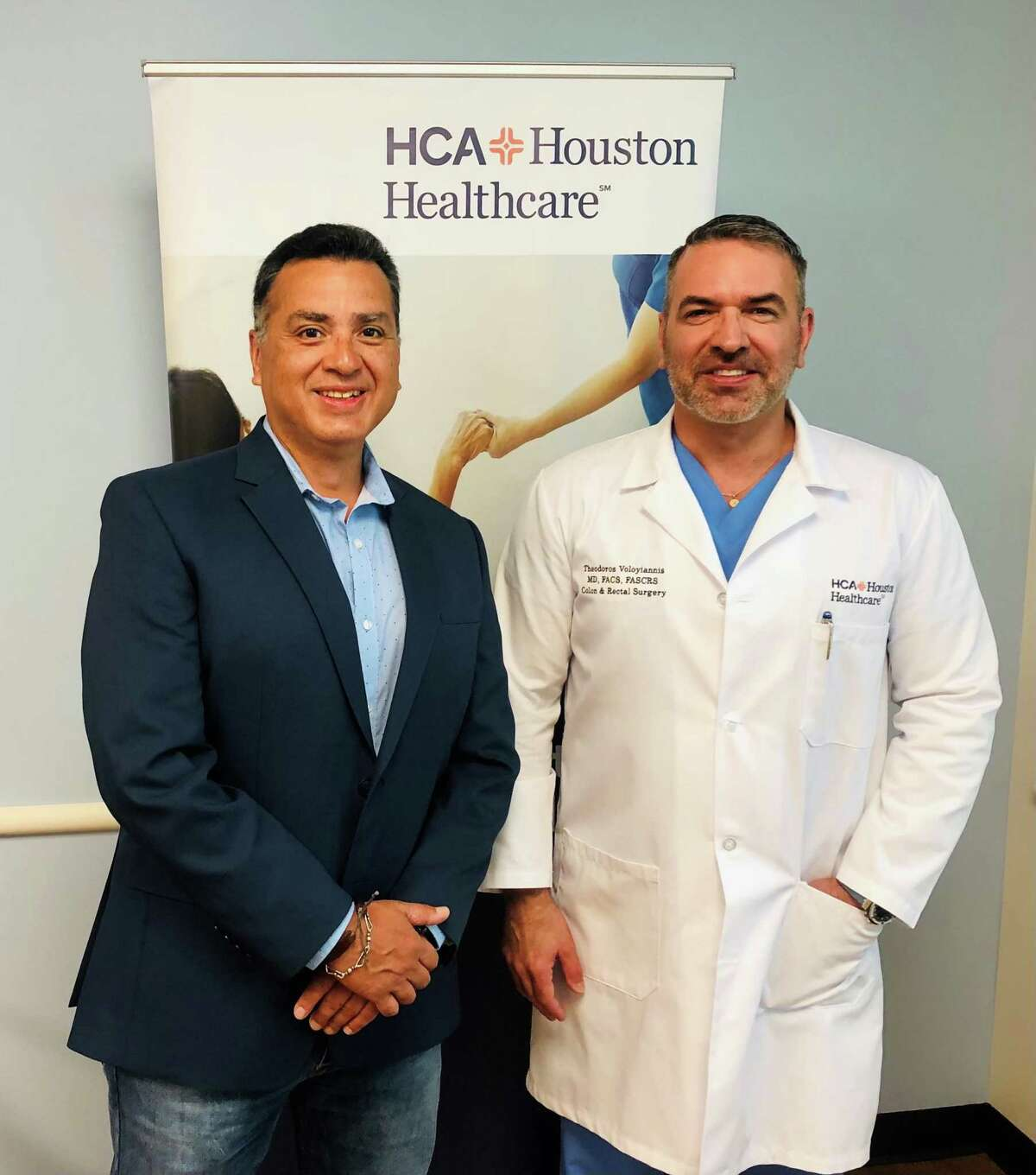 Surgeon Dr. Ted Voloyiannis, right, worked with a multidisciplinary team at HCA Houston Healthcare Clear Lake to develop a treatment plan for Rudy Gallardo following Gallardo's colon cancer diagnosis. Voloyiannis fears disruptions from the pandemic will mean more colon cancer cases go undiscovered until later stages of the disease.