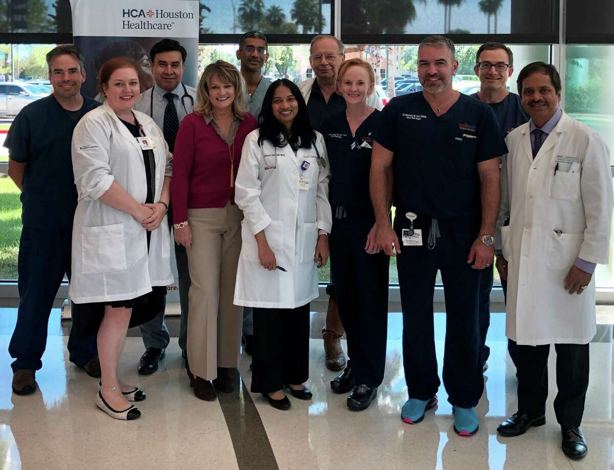 An initiative developed at HCA Houston Healthcare Clear Lake in 2019 treats colon patients through an individualized, comprehensive program. Members of that team are: Dr. David Rundell, left; Shannon Gutowski, RN; Dr. Khalid Mahmood; Terri Jamison, RN; Dr. Rajayogesh Davuluri; Dr. Dhatri Kodali; Dr. Marcos Aquino; Ashley Wray, MS, MPH, PA-C; Dr. Ted Voloyiannis; Dr. Kenneth Lutshg and Dr. Vivek S. Kavadi.