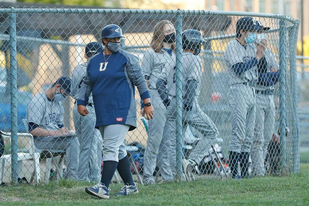 Urban School of San Francisco varsity baseball coach Oz Sailors during a game against San Domenico High School.