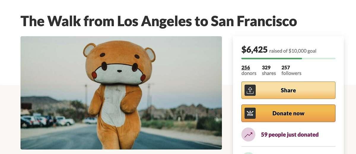 Jesse Larios, a 33-year-old California native, began the trek in Los Angeles' Little Tokyo neighborhood on April 12 dressed as Bearsun.