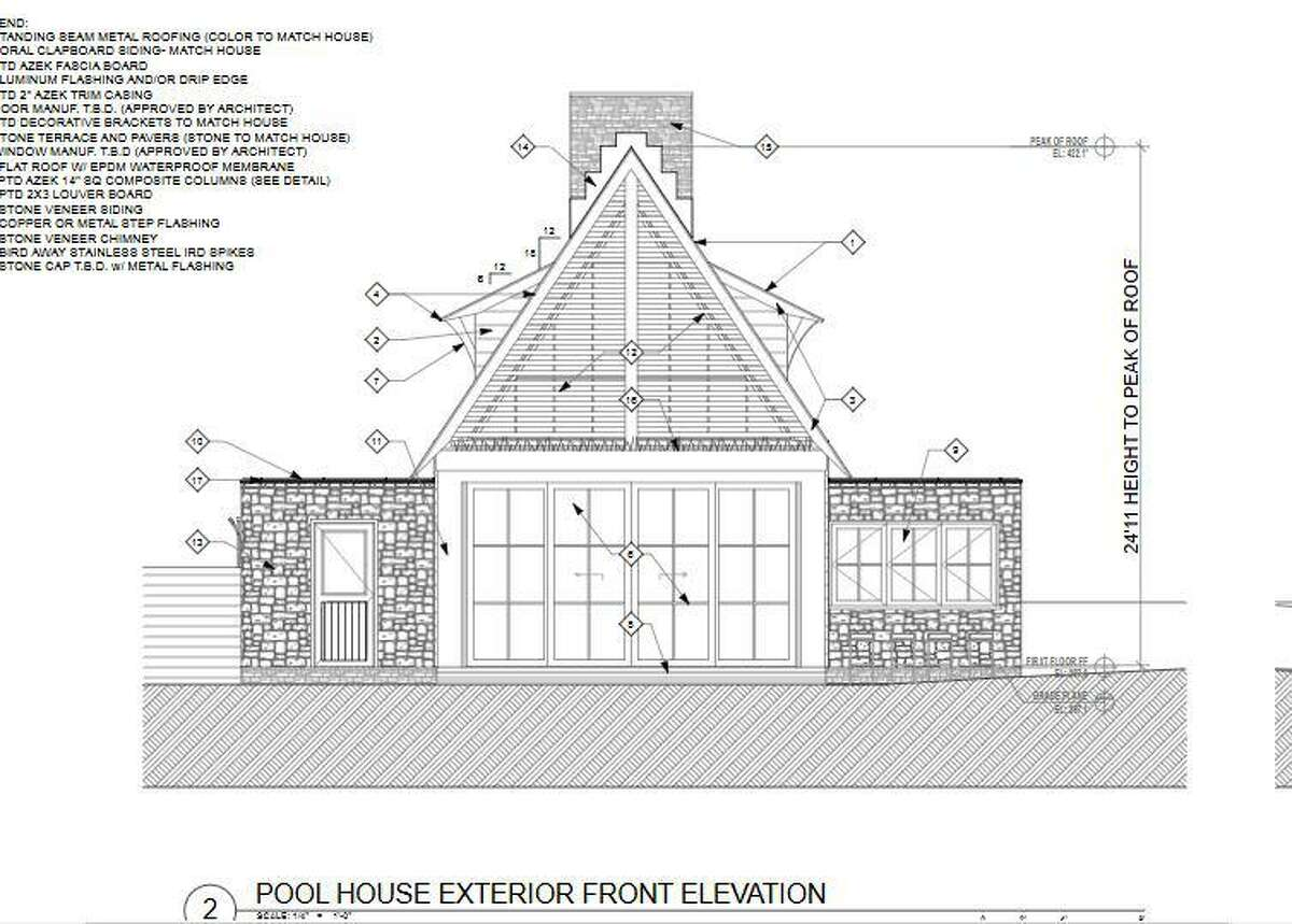 A pool house is part of a package of new construction approved for a backcountry Greenwich home.