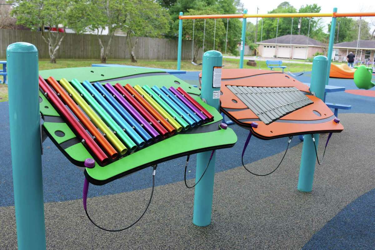 Olson Park's new all-access playground features xylophones that can be played by all.
