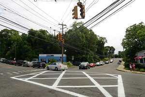 The Norwalk Department of Public Works has cross-hatched the intersection of Route 1 and France Street in Norwalk, Conn. with Don't-Block-the-Box markings and signs in effort to discourage motorists from clogging the intersection Thursday, August 18, 2016.