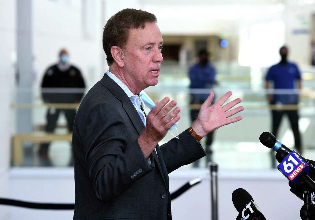 Governor Ned Lamont speaks about in-person learning at Connecticut colleges for summer and fall semesters at a press conference at Gateway Community College in New Haven on April 19, 2021.