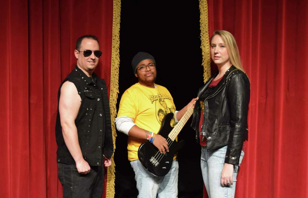 """Joe Berthiaume, Steffon Sampson, and Ashley McLeod in character for Landmark Community Theatre's production of """"One Hit Wonder"""". The theater group at the Thomason Opera House is reopening to the public with a small cast comedy using veteran actors, """"The Foursome"""" by Norm Foster, starting May 7."""