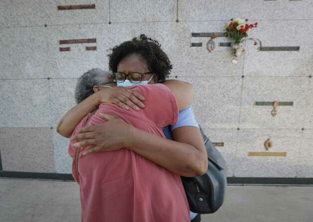 """""""We did it"""" Ancretta Mackey-Lasanta (l-r) and her sister Brenda Mackey-Lang said as they heard the news that Derek Chauvin was found guilty of murdering George Floyd outside the mausoleum where he is entombed Tuesday, April 20, 2021, in Pearland. Photo: Steve Gonzales, Houston Chronicle / Staff Photographer / © 2021 Houston Chronicle"""