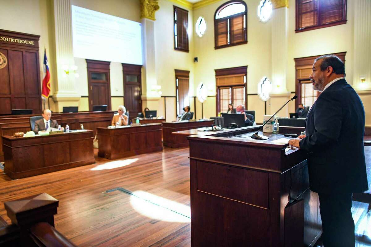 District Court Judge Ron Rangel, who is also the administrative judge, speaks before Bexar County Commissioners Court on Tuesday, April 20, 2021, about his plan to resume in-person jury trials at the Cadena-Reeves Justice Center on June 1.