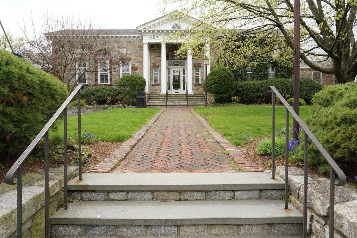 The 1913 wing of the New Canaan Library on Main Street is the center of a controversy as residents try to decide if it should be demolished or not after the new library is built next door to it. Picture taken April 19, 2021.