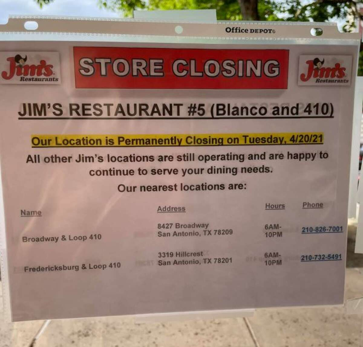 On Monday, Lara Turner snapped a picture of the note taped on the doors of the Jim's location on Blanco and Loop 410.