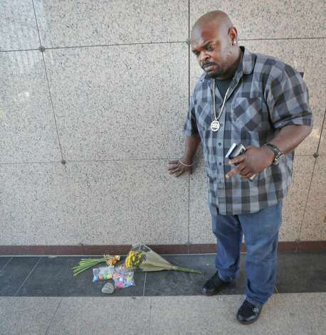 """Dekori """"DJD"""" Lawson pauses to reflect on his good friend George Floyd after he heard that Derek Chauvin was found guilty of murdering Floyd Tuesday, April 20, 2021, in Pearland. Photo: Steve Gonzales/Staff Photographer / © 2021 Houston Chronicle"""