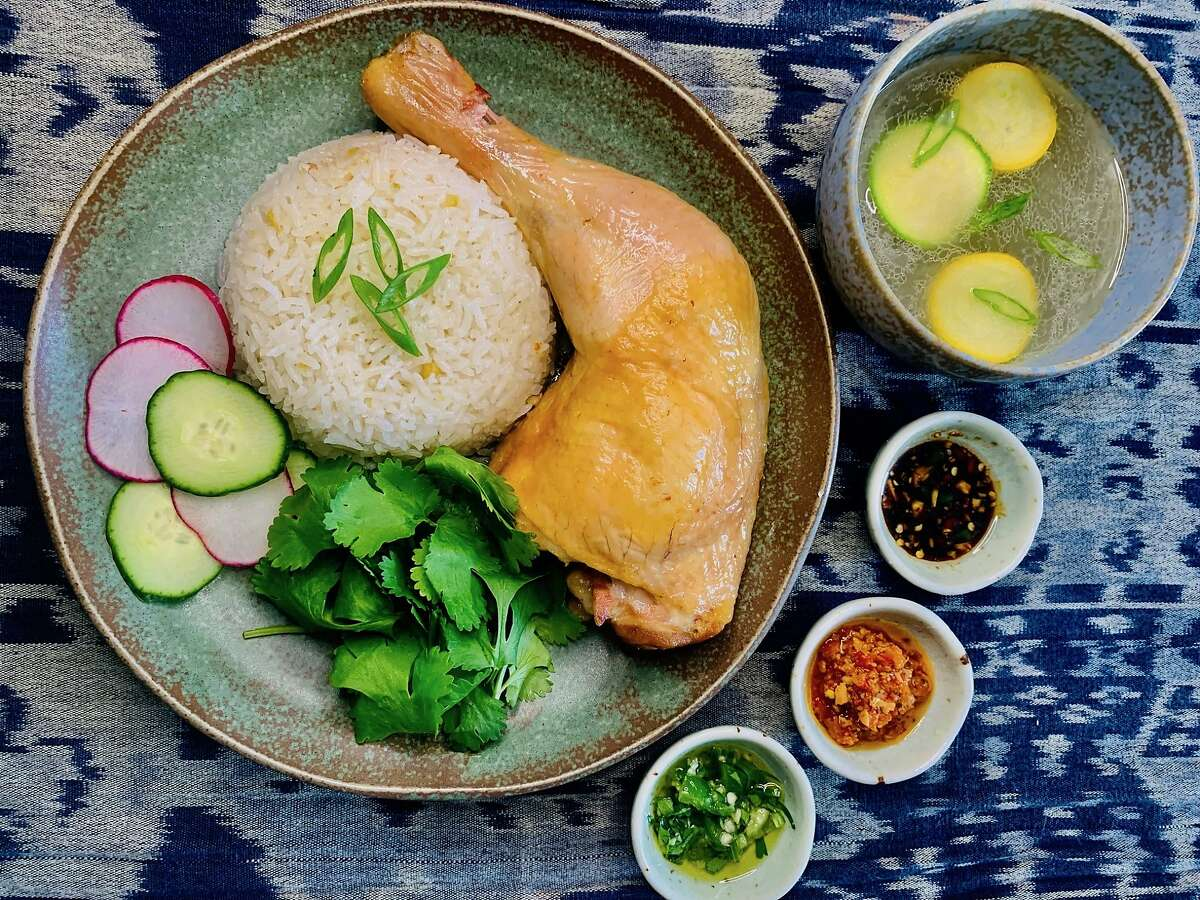 Singaporean chicken rice with caldo de pollo soup, sambal and salsa from Nora Haron's IndoMex pop-up. She plans to serve it at Table at 7 in Walnut Creek.