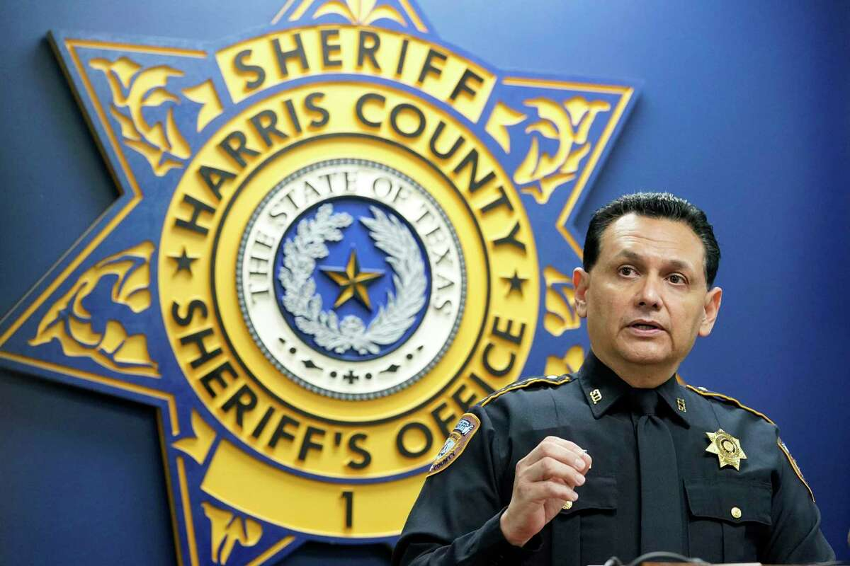 Harris County Sheriff Ed Gonzalez speaks during a press conference related to the April 14 fatal shooting of Marcelo Garcia Tuesday, April 20, 2021 in Houston. Several videos from officers' body cameras and a video from neighboring house were released.