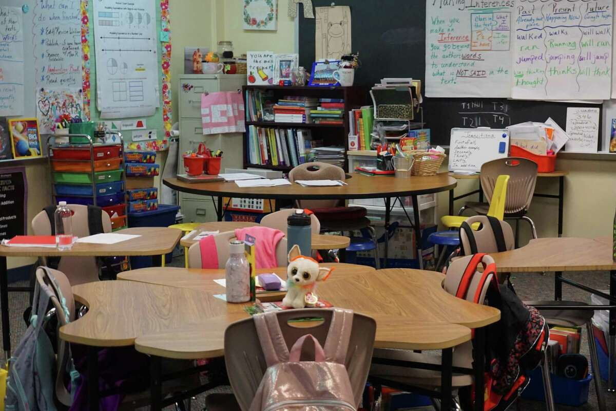 The desks in this classroom at Winborn Elementary in Katy lack storage, so the space tends to clutter quickly. If approved, the Katy Independent School District 2021 bond Proposition A would address storage concerns at the school.