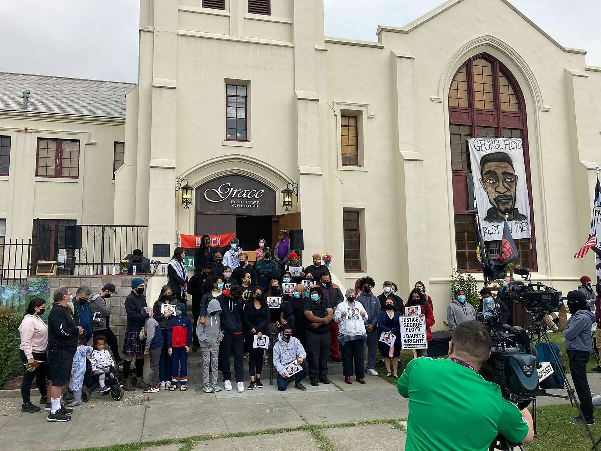San Jose residents gather at Grace Baptist Church on April 20, 2021 following a Minnesota jury's conviction of Derek Chauvin, the former Minneapolis police officer who killed George Floyd.