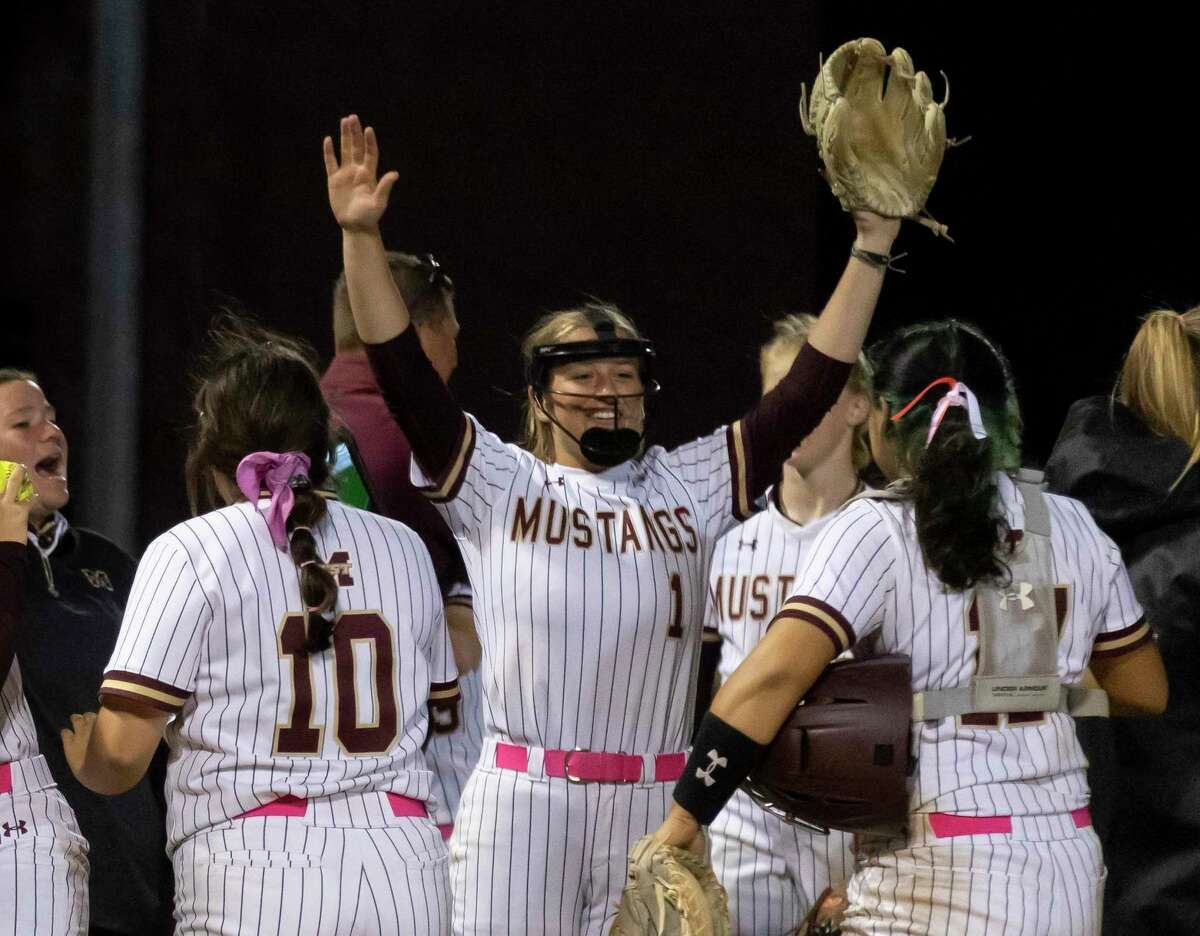Magnolia West pitcher Tony Tamborello (1) reacts after winning a District 19-5A softball game against Magnolia at Magnolia West High School, Tuesday, April 20, 2021, in Magnolia. Magnolia West clinched the district title after winning 1-0.