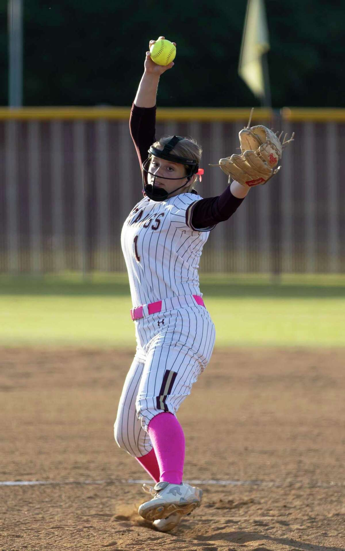 Magnolia West pitcher Tony Tamborello (1) pitches the ball during the first inning of a District 19-5A softball game at against Magnolia West High School, Tuesday, April 20, 2021, in Magnolia.