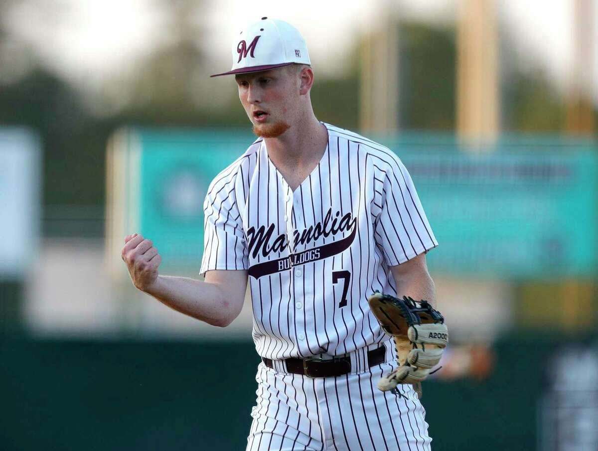 Magnolia's Cameron Nickens, shown here last week, tripled Tuesday against College Station as the Bulldogs clinched a share of the District 19-5A title.