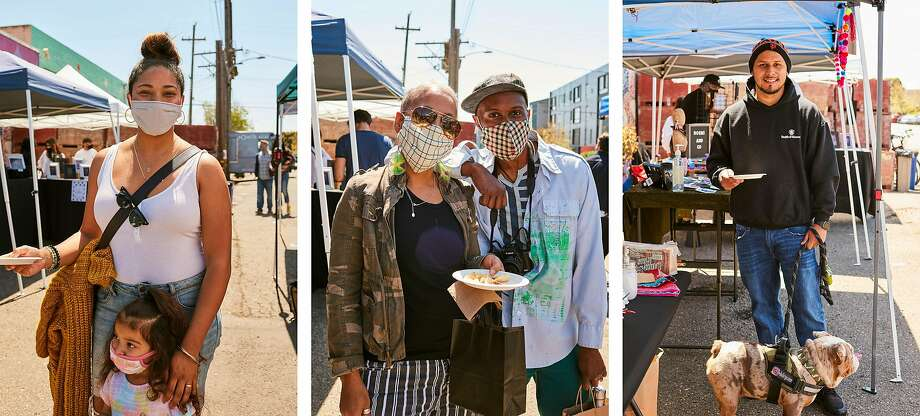 Left: Adriana Parrish-Tabibzadh and Siena Parrish-Tabibzadeh, 3; center: Damali Robertson and Ambessa Cantave; right: Ricardo Guzman, 30 and Bullet Guzman at a Kuali pop-up in Oakland on April 17. Photo: Aysia Stieb / Special To The Chronicle