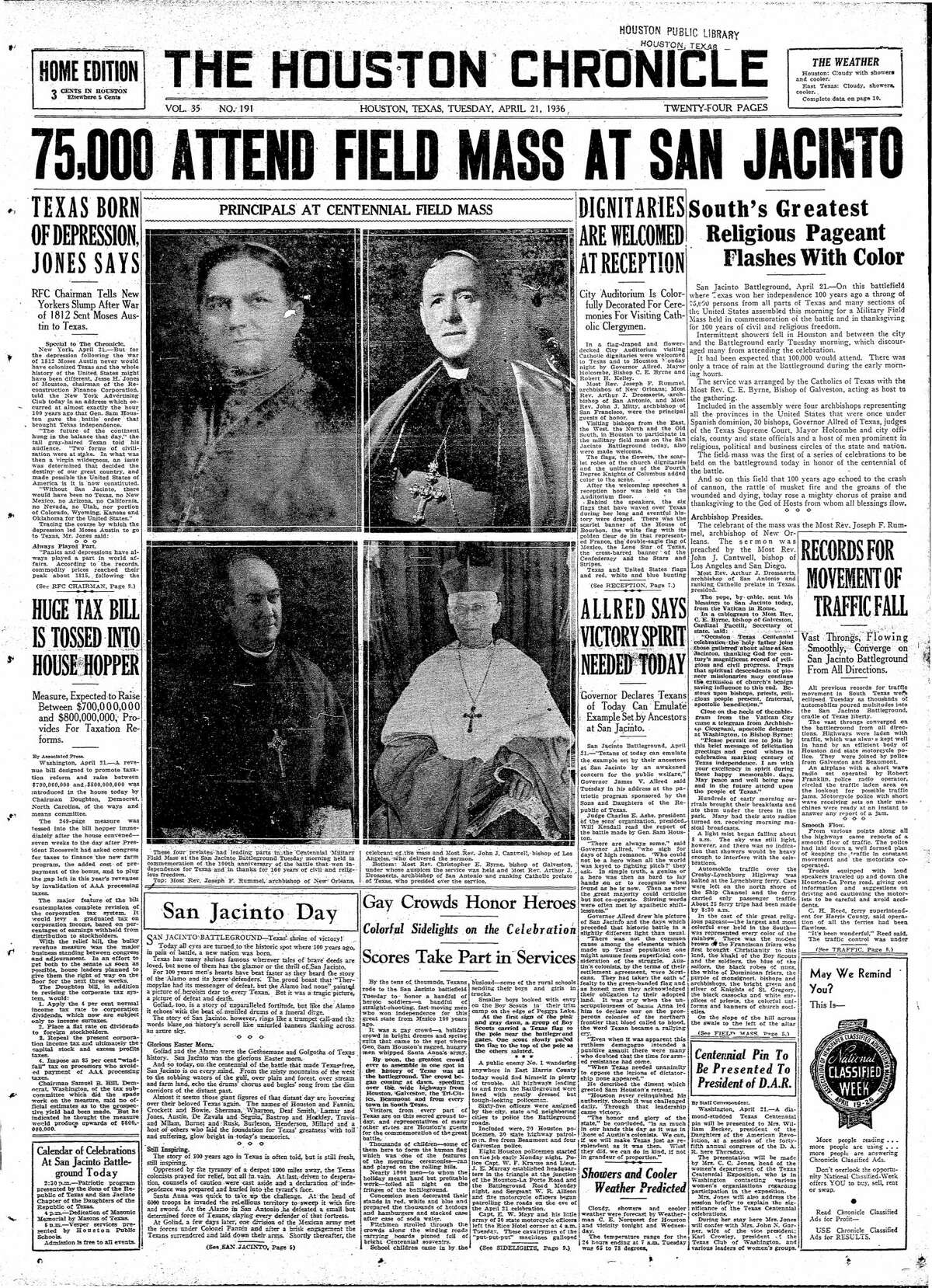 Houston Chronicle front page from April 21, 1936.