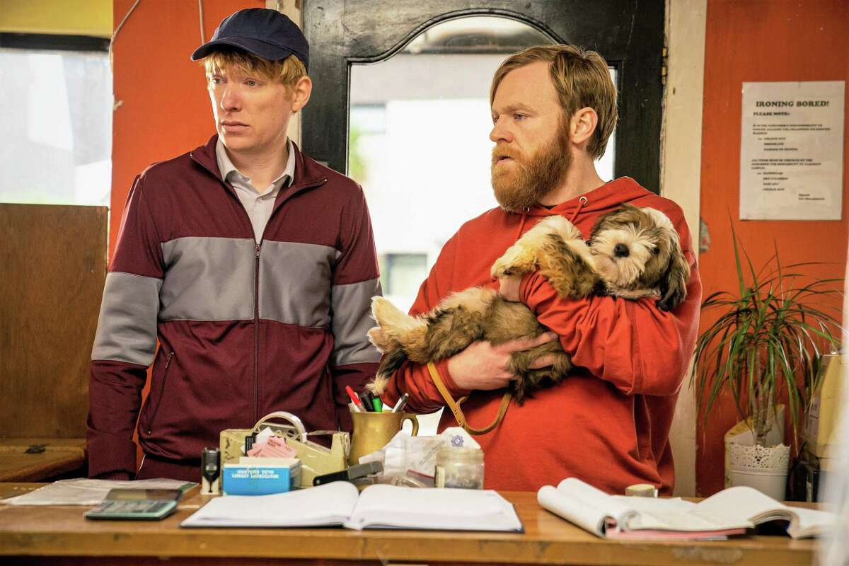 """Frank (Brian Gleeson), right, joins his best friend Doofus (Dohmnall Gleeson) for some silly hijinks in Amazon's """"Frank of Ireland."""""""