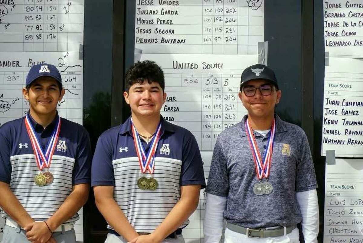 Alexander featured all three individual medalists at the District 30-6A meet as Carlos Rangel, center, won the title while Brandon Urdiales, right, placed second and Omar Cantu took third place.
