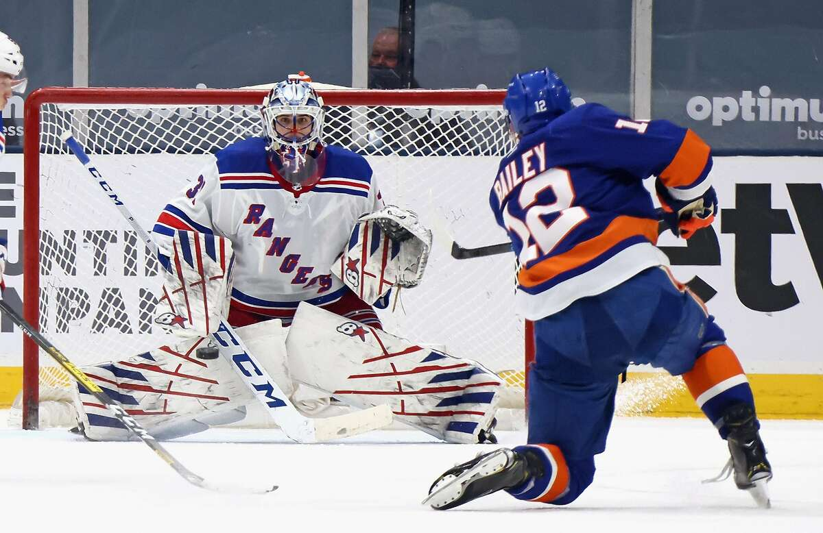 Josh Bailey of the Islanders scores his second goal of the game against Igor Shesterkin of the Rangers in the third period. Bailey also had an assist in his return from a two-game absence.