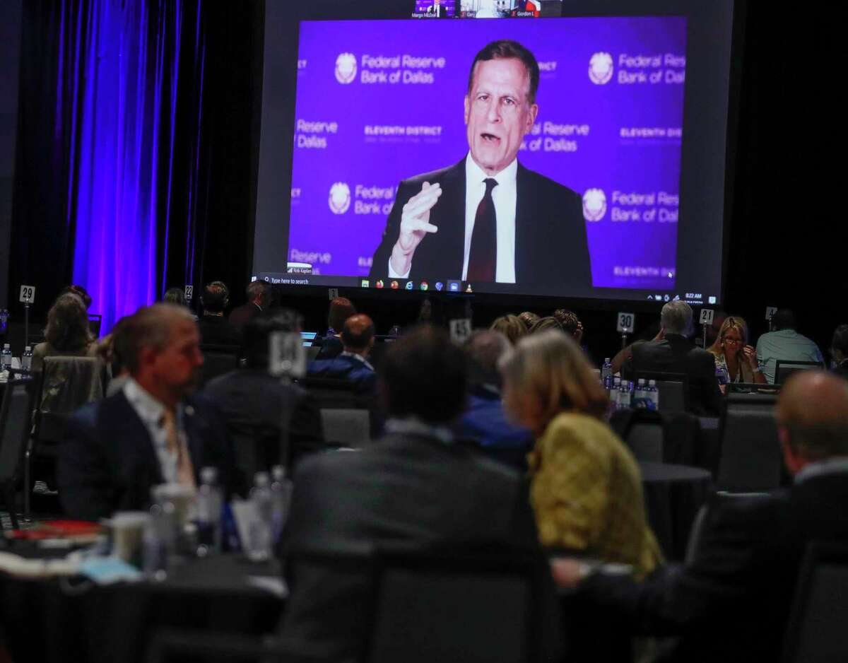 Robert Kaplan, president and CEO of The Federal Reserve Bank of Dallas, speaks virtually at the annual Economic Outlook Conference at The Woodlands Waterway Marriott Hotel & Convention Center, Wednesday, April 14, 2021, in The Woodlands.