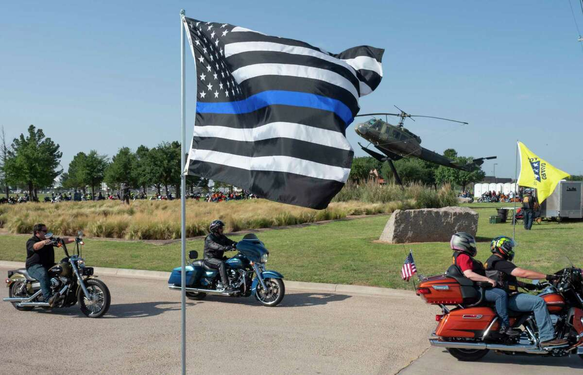 The thin blue line American flag at a Texas parade.