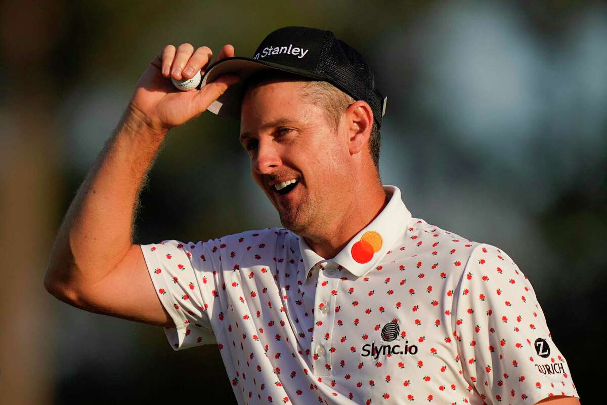 Justin Rose reacts after a birdie on the 18th green during the final round of the Masters on April 11.