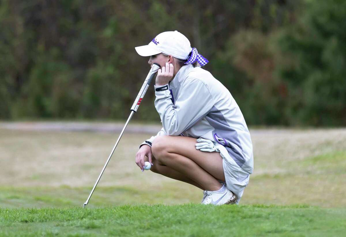 Montgomery senior Remington Isaac, shown here during the district tournament in March, was tied for third place after the first round of the UIL Class 5A tournament at White Wing Golf Club in Georgetown.