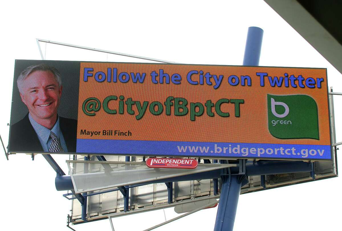 The city of Bridgeport is running a rotating series of displays on the new digital billboard facing I-95 in front of the Webster Bank Arena in Bridgeport, Conn. on Thursday, March 28, 2013.