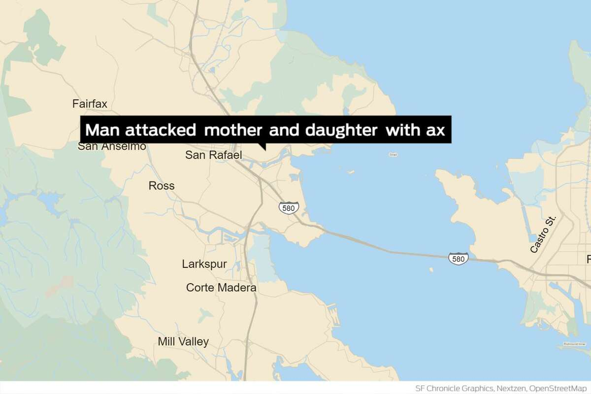 Police arrested a man Monday accused of stabbing a woman and her 12-year-old daughter with an ax in their shared residence in San Rafael, officials said.