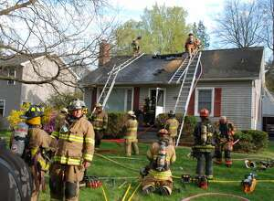 Firefighters fought a fire Tuesday, April 21, 2021, at a home on Kenwood Avenue in Bethlehem. Police said the homeowner got out of the building safely.