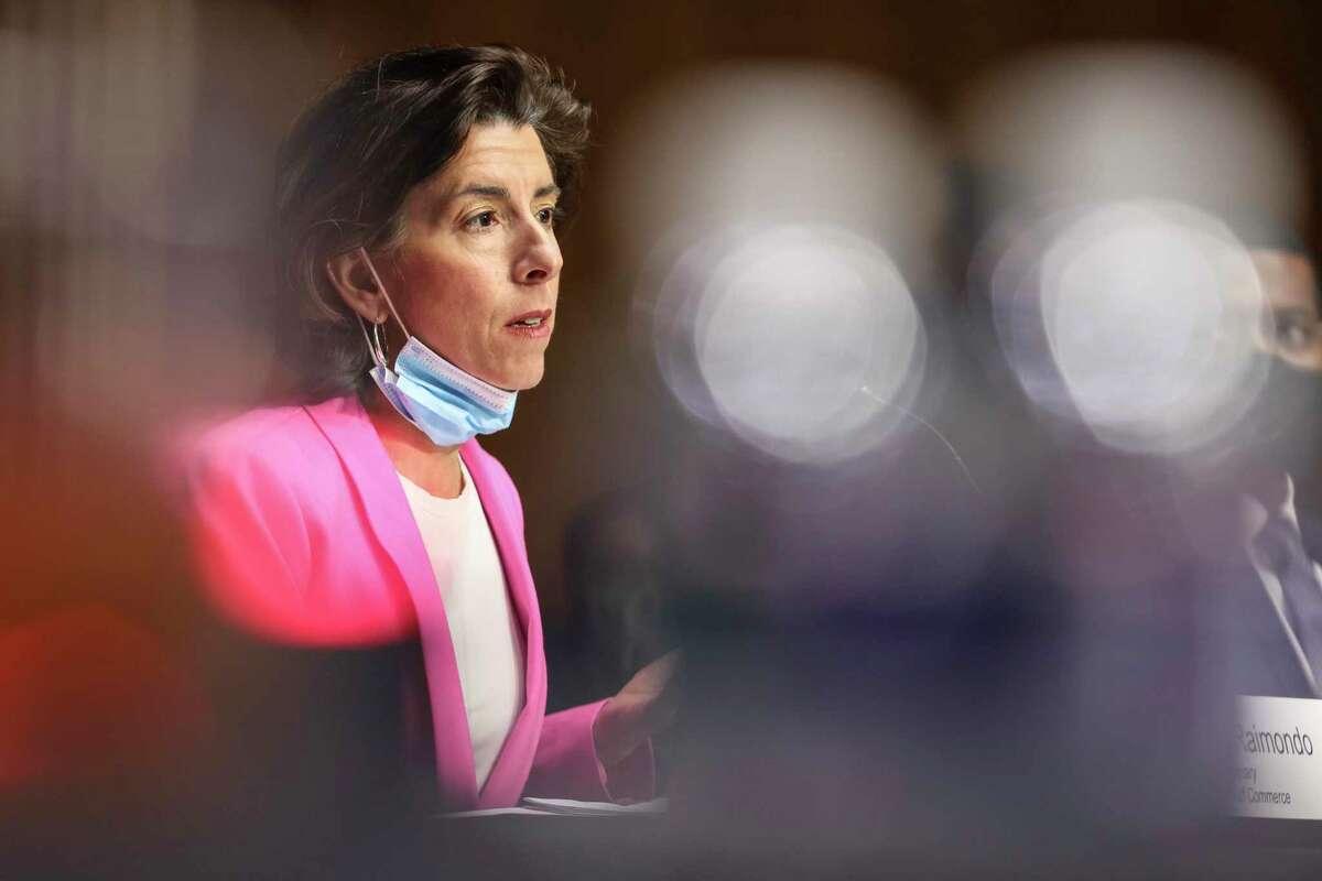 United States Secretary of Commerce Gina Raimondo, testifies before a Senate Appropriations Committee hearing.